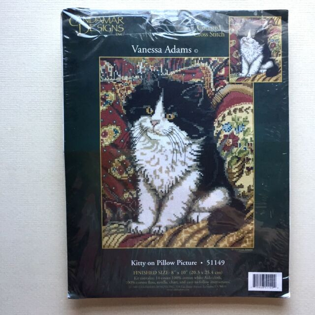 Kitty On Pillow Picture cross stitch kit Candamar Designs 51149 opened unused