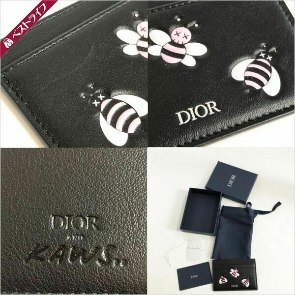 [Near Mint] Christian Dior KAWS Card Case Embossed Leather Japan #1365