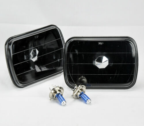"7x6/"" Halogen Semi Sealed H4 Black Glass Headlight Conversion w// Bulbs Pair Ford"