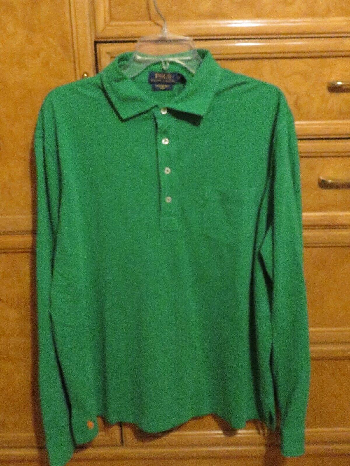 2e9f111a5521 Men s Polo Ralph Lauren long sleeve green shirt cotton sz M brand new NWT.  POLO Ralph Lauren Mens ...