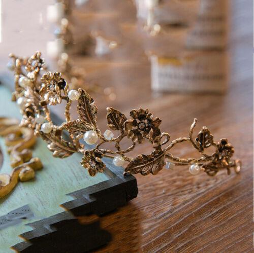 Vintage Blume Goldblatt Krone Perle Tiara Hochzeit Stirnband Königin Brautmode