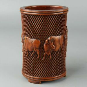 Exquisite Chinese Old Boxwood Collectible Wood carving Five cattle pen Brush Pot