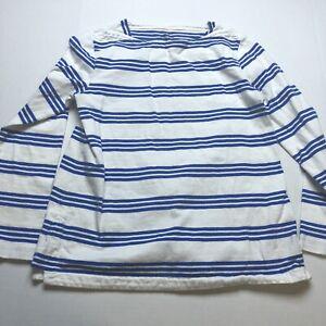 Vineyard Vines Womens Sz M Blue White Stripe Long Sleeve Top A1409