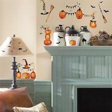 HALLOWEEN PUMPKINS wall stickers 38 decals black cat witch hat broom bat spider