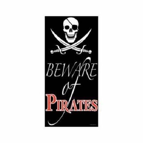 Beware of Pirates Plastic Birthday Party Door Sign Decoration Brand New