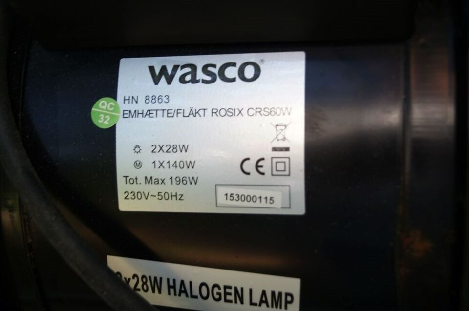 Emhætte, Wasco Rosix CRS60W