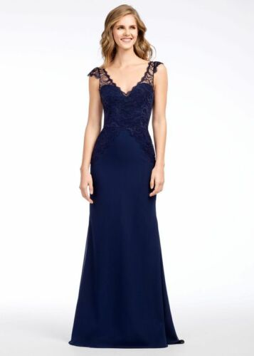NEW HAYLEY PAIGE OCCASIONS Cap Sleeve Lace /& Chiffon Trumpet GOWN Sz 4 $298