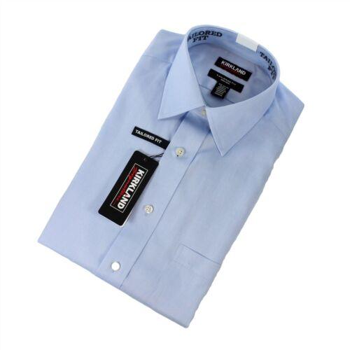 Kirkland Signature Men Cotton Blue Dress Shirt Long Sleeve Tailored 17.5x32//33