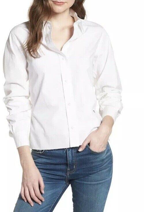 NEW Current Elliott The Des Tie Back Shirt Größe 3 Large Weiß Blouse