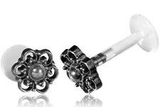 STERLING SILVER MANDALA 16G 1/4 6mm BIOPLAST EAR LABRET MADONNA TRAGUS LIP HELIX