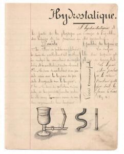 c1890-science-manuscript-document-HYDROSTATIC-handmade-illustration-drawing