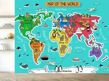 Cartoon Map Of The World Countries Wall Mural Photo Wallpaper GIANT WALL DECOR