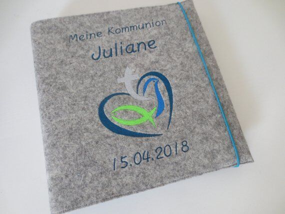 Fotoalbum Kommunion Konfirmation 30 cm x 30 cm Wollfilz Name Album Fische | Wirtschaft  | Düsseldorf Online Shop  | New Products