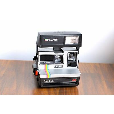 POLAROID SUN  635 QS  LAND Instant Film,   Retro Rainbow stripe!    - Tested