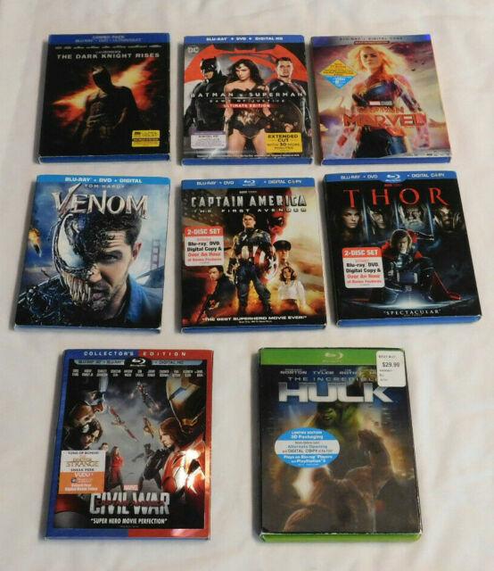 Lot of 8 Blu-ray DVD Movies Superhero DC Marvel