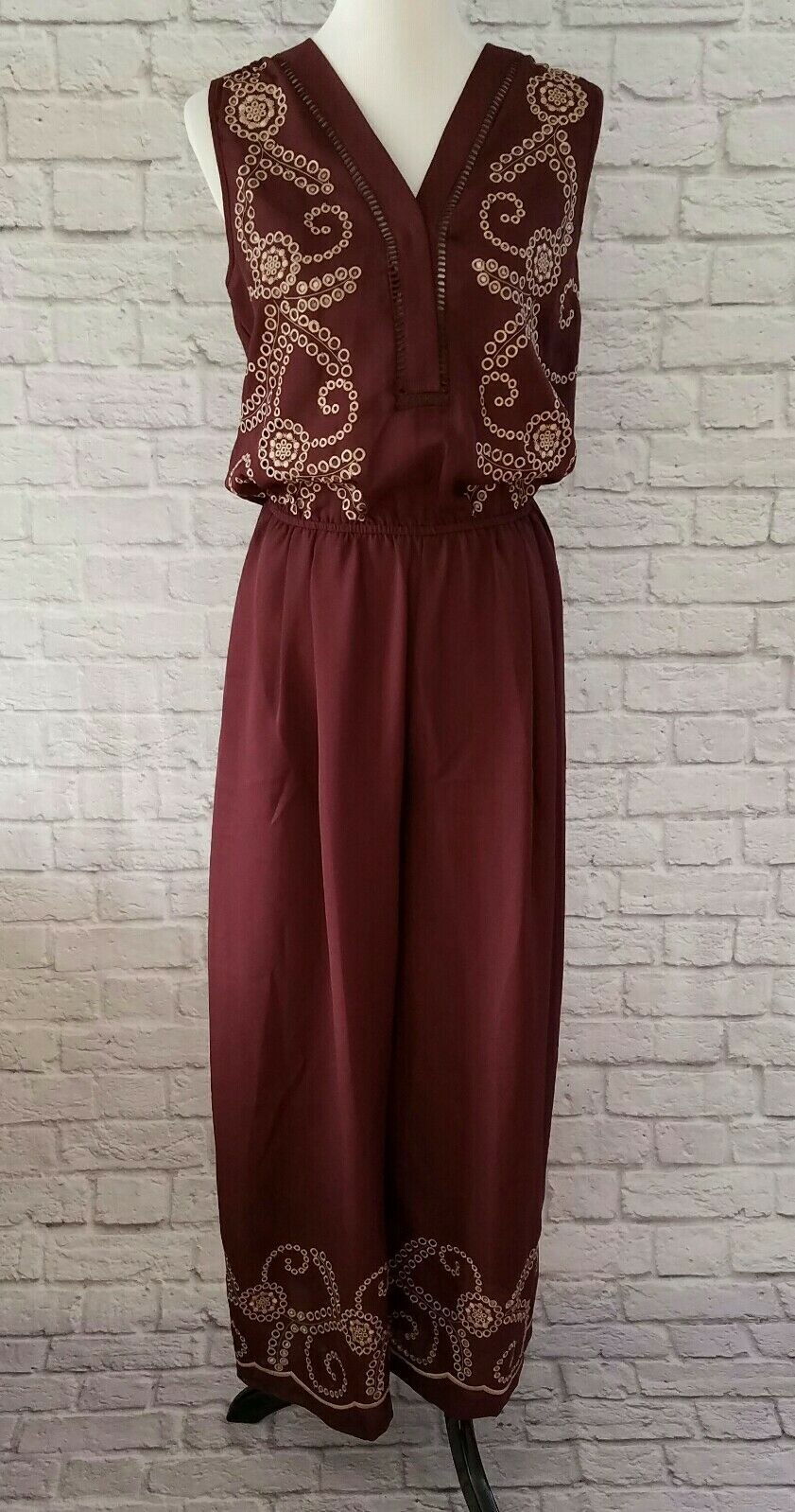 Anthropologie Ranna Gill Small Teresa Embroidered Jumpsuit Wine Burgundy  178NWT