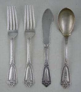 Sterling-Whiting-IVY-Pat-1866-flatware-set-4-pcs