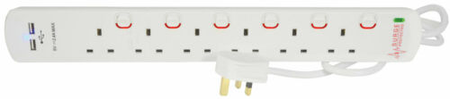 6 Gang Switched 2Mtr Surge Spike Protection Extension Lead With 2 x USB Ports