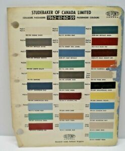 1959-62 STUDEBAKER CANADA CAR COLOR CANADIAN PAINT CHIP DUPONT SAMPLES CHART