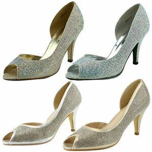 Para mujeres Zapatos Tacón Gatito Peep Toe Sandalias Diamante Fiesta Damas Boda Tribunal UK