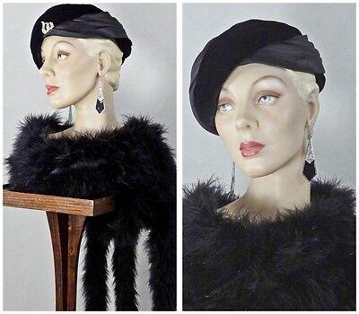 1930s 1940s Style Satin and Velvet Wrapped Turban Sz 7 #1231