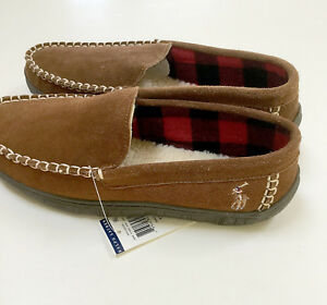 b85930a4aa635 Image is loading Polo-Ralph-Lauren-mens-moccasin-slippers-brown-suede-