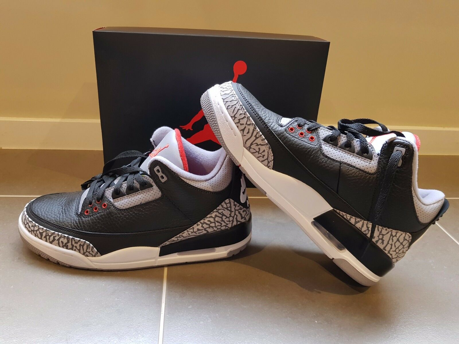 free shipping 094b7 f4136 Air Jordan 3 Retro OG Black Cement Cement Cement 2018 Men s US 9 5329ad