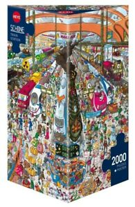 (HY29730) - Heye Puzzles - Triangular , 2 000 Pc - Train Station, Schone