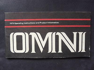Dodge Omni - Us-betriebsanleitung / Operation Manual 1979 Weder Zu Hart Noch Zu Weich