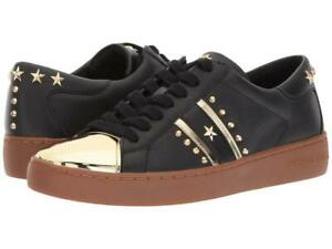 27d283095271 Michael Kors MK Women s Frankie Stripe Leather Sneakers Shoes Black ...