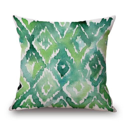 Floral Tropical Cotton Linen Cushion Cover Plant leaves Pillow Case Home Decor