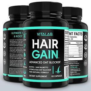 Hair Gain Biotin Hydrolyzed DHT Blocker Hair Growth Vitamins 10000mcg Women Men