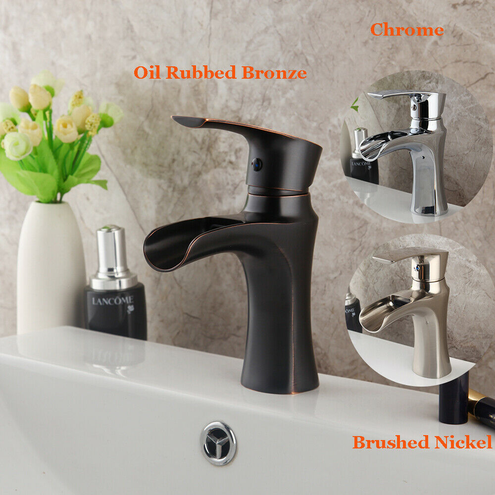 3 Farbe Waterfall Bathroom Basin Sink Faucet One Handle Hole Mixer Brass Taps