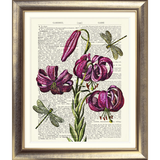 ART PRINT ON ANTIQUE DICTIONARY PAGE Vintage Pink DRAGONFLY LILY flower print