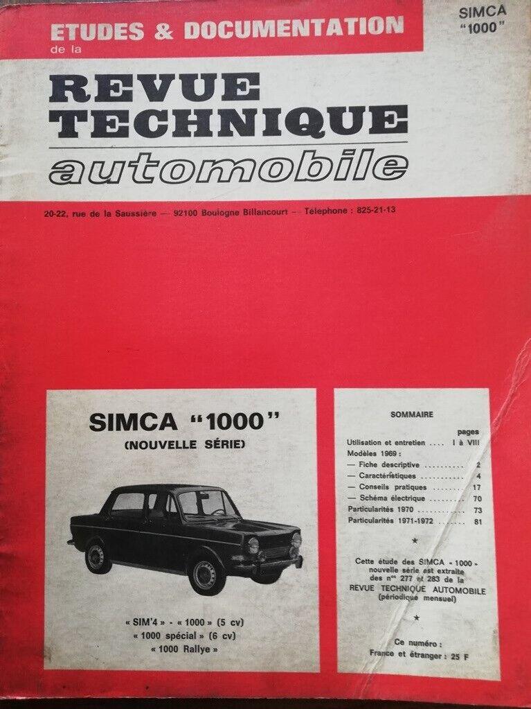 Simca 1000 Spécial Sim/'4 revue tech RTA 277