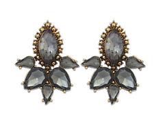 Ash Grey Crystal Big Statement Stud Earrings UK Shop