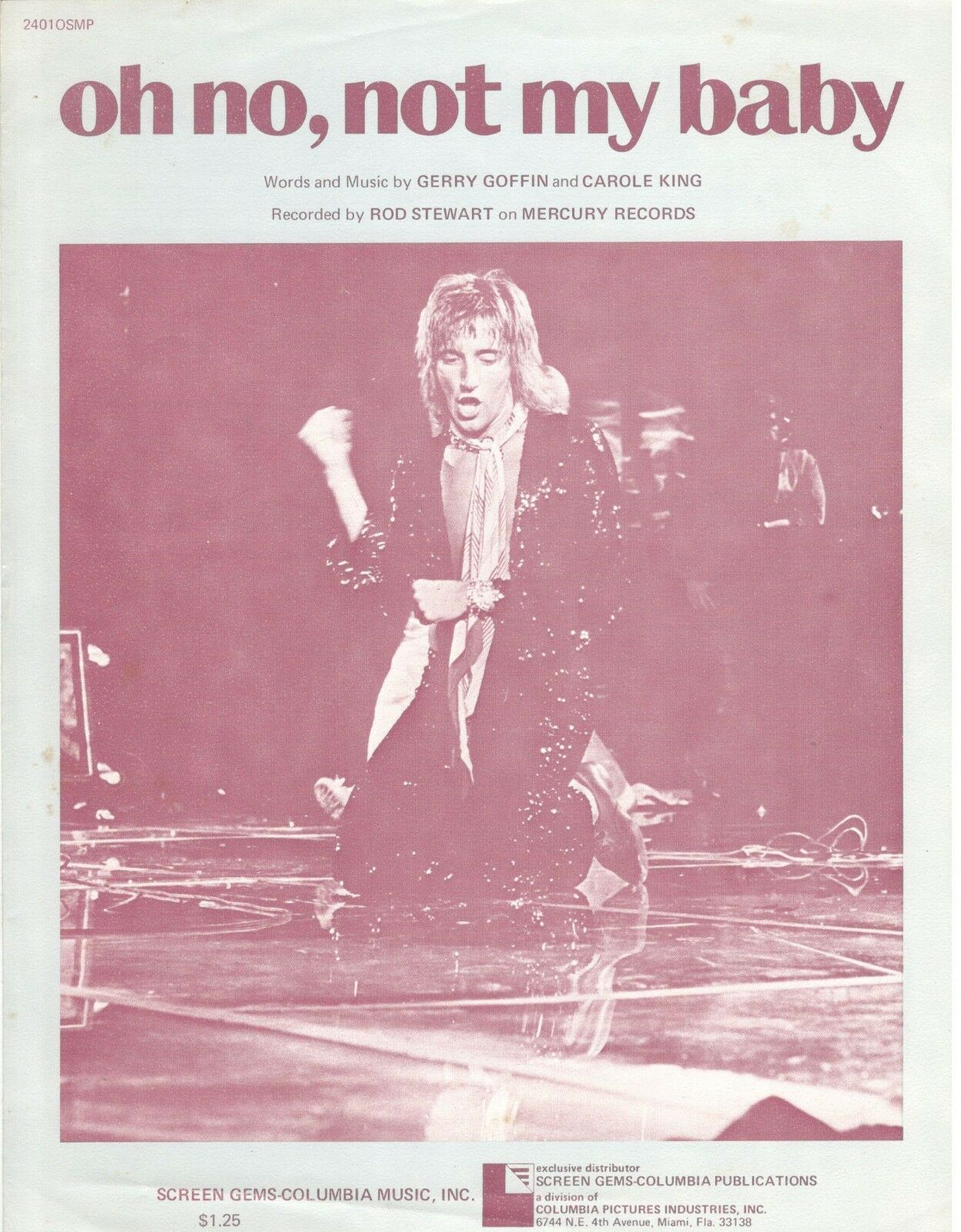 ROD STEWART  OH NO, NOT MY BABY  SHEET MUSIC-PIANO VOCAL GUITAR CHORDS-RARE-NEW