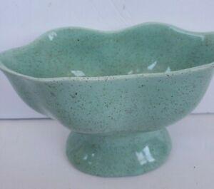 Vintage Brush McCoy Pottery Footed Planter Green Blue Mint Speckled MCM