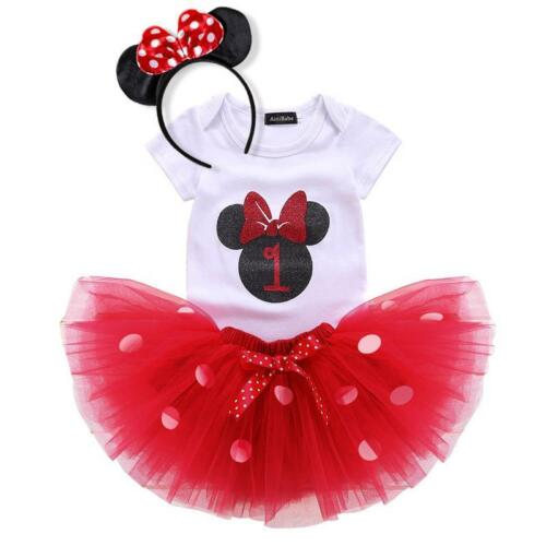 Minnie Mouse 1st 2nd Year Birthday Baby Girl Dress Clothes Party Costume Kids