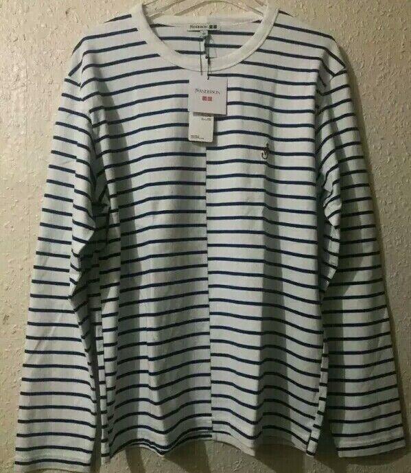 JW Anderson X Uniqlo Long Sleeve Striped T-Shirt bluee & White Size Medium