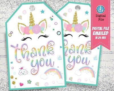 Rainbow Unicorn Thank You Tags Printable Birthday Party Favor Tags Ebay