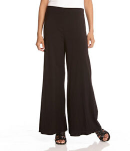 Karen Kane L56548 Black Wide Leg Stretch Knit Rayon Travel Pull-on Pants - $88
