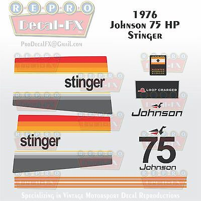 1977 Johnson 75 HP Stinger Outboard Repro 16Pc Vinyl Decals MagnaFlash CD