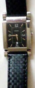Coach-Unisex-W-514-Quartz-Watch-Black-Dial-w-Inox-Black-Leather-Band
