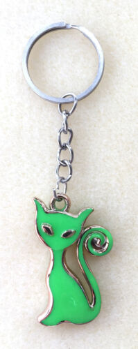CUTE SITTING CAT KEYRING HANDBAG CHARM - SIX COLOURS - LIGHTWEIGHT