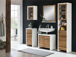 badm bel set burnham 5teilig pinie wei braun wandschrank badschrank holz m bel ebay. Black Bedroom Furniture Sets. Home Design Ideas