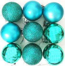 9 Christmas Tree Baubles TEAL Decoration Festive Tree Xmas Glitter Ornament Mat