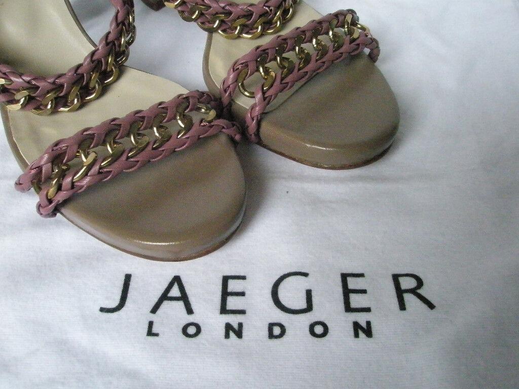 Nuevo Jaeger señoras rosado Cadena De Cuero Sandalias con tacones tiras de tiras tacones Zapatos Uk 6 Eu 39 637aac