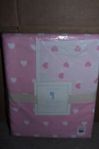 NWT Pottery Barn Kids Heart twin duvet cover light pale pink