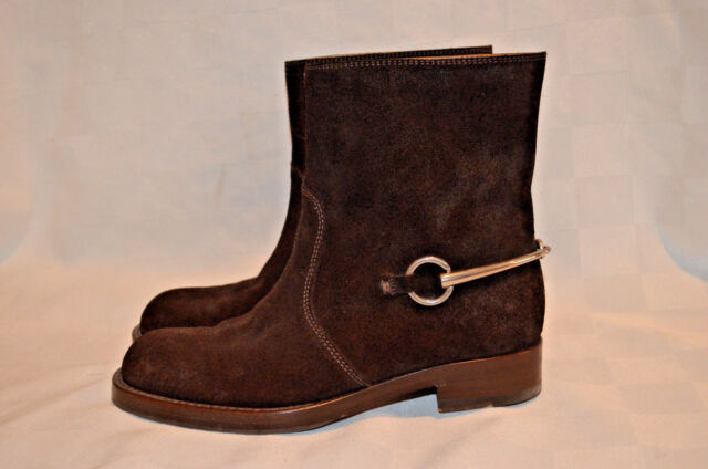 e3088abf0b44 $1325 Sz 37 6.5 Gucci Brown Suede Horsebit Ankle Boots Moto Riding Booties
